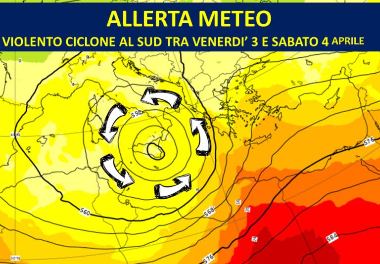 Allerta Meteo per un violento ciclone al Sud Italia tra Venerdì 3 e Sabato 4 Aprile