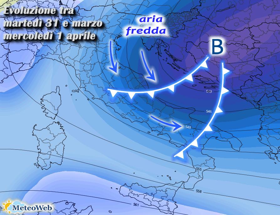 Previsioni meteo: in arrivo piogge, freddo e nevicate, ecco dove
