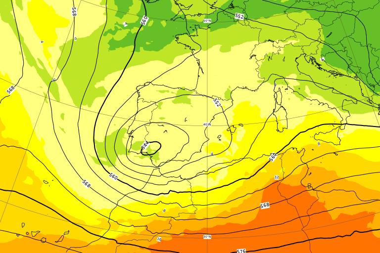 Il ciclone sulla penisola Iberica tra Mercoledì 1 e Giovedì 2 Aprile