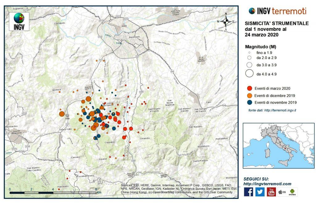 sciame sismico benevento