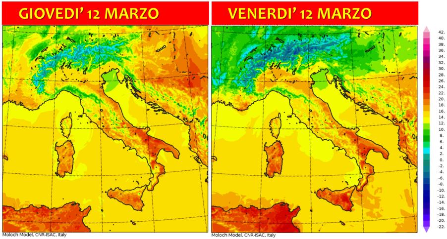 temperature italia 12 13 marzo