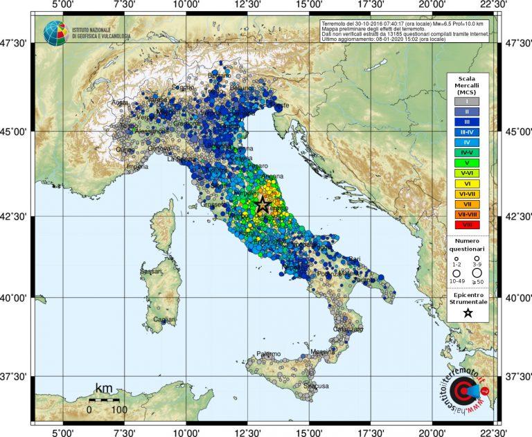 Figura 2 – Mappa dell'intensità macrosismica in scala Mercalli – Cancani – Sieberg del terremoto del 20 ottobre 2016 di magnitudo Mw 6.5. La stella indica l'epicentro.