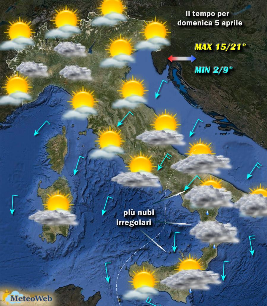 Previsioni meteo Abruzzo 5 aprile: nuvole sulla costa, possibili precipitazioni sui rilievi