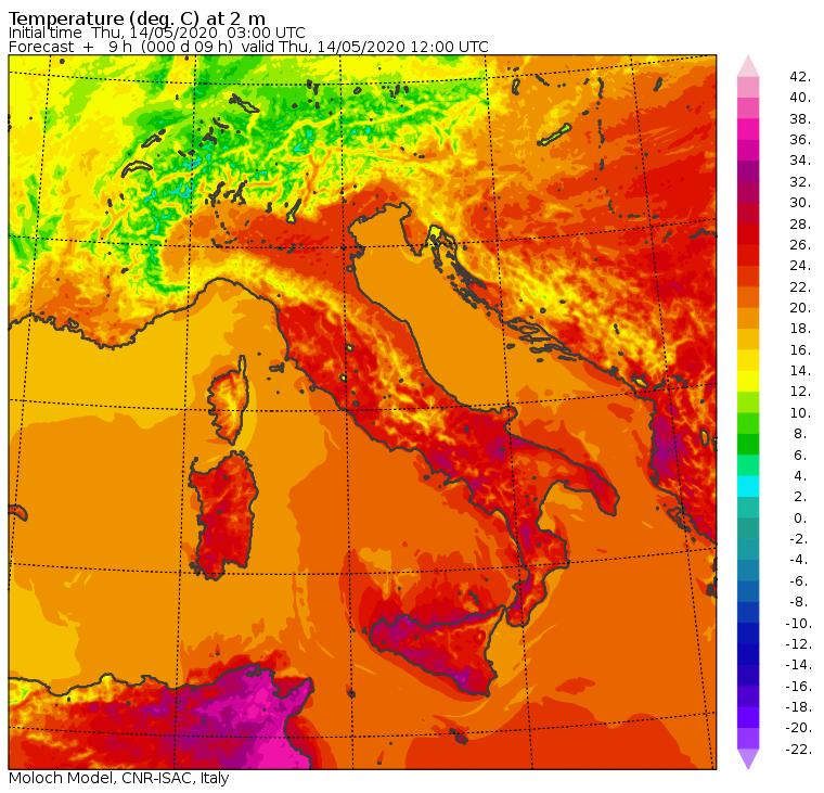 Le temperature previste in Italia dal modello Moloch del CNR-ISAC per le ore 14:00 di oggi, Giovedì 14 Maggio
