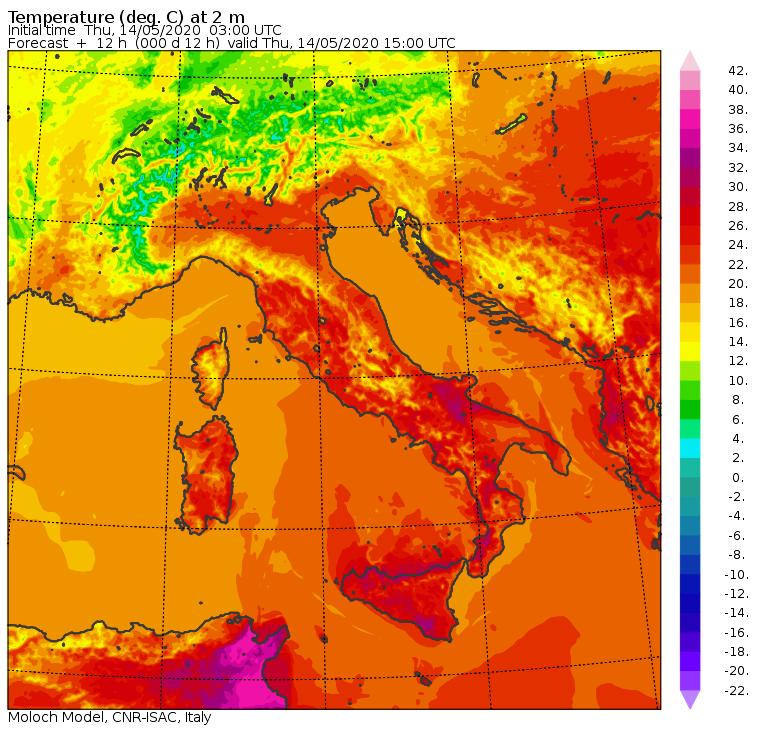 Le temperature previste in Italia dal modello Moloch del CNR-ISAC per le ore 17:00 di oggi, Giovedì 14 Maggio