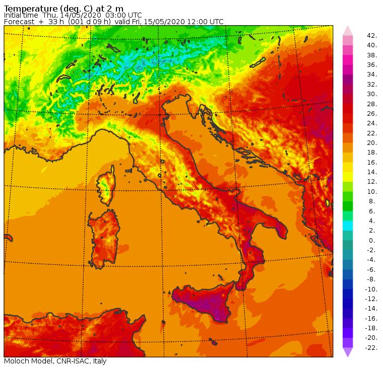 Le temperature previste in Italia dal modello Moloch del CNR-ISAC per le ore 14:00 di oggi, Venerdì 15 Maggio