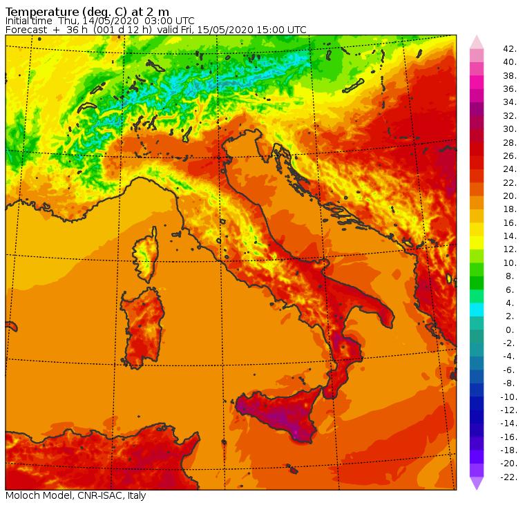 Le temperature previste in Italia dal modello Moloch del CNR-ISAC per le ore 17:00 di oggi, Venerdì 15 Maggio