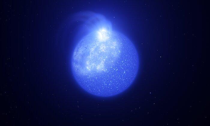 Rappresentazione artistica di una stella tormentata da una macchia magnetica gigante