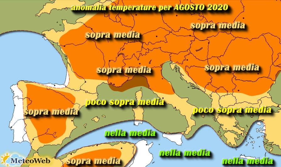 Le previsioni meteo per lunedì 20 luglio