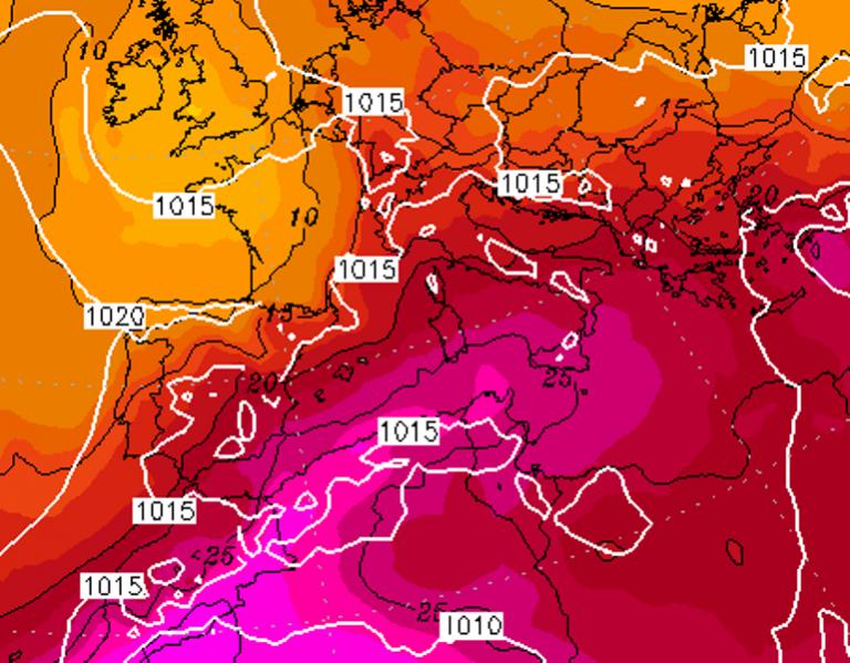 Le temperature ad 850hPa previste per Domenica 16 Agosto 2020