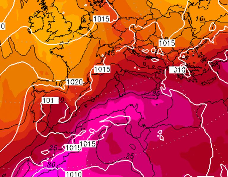 Le temperature ad 850hPa previste per Lunedì 17 Agosto 2020