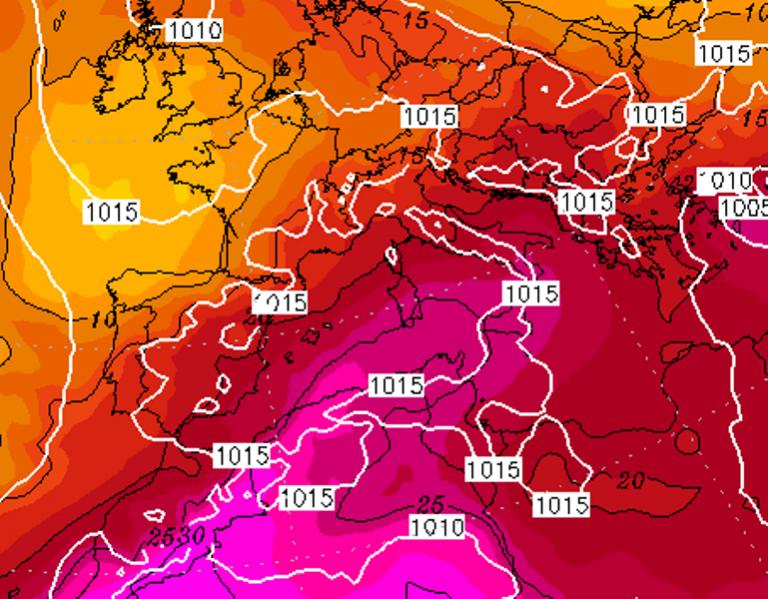 Le temperature ad 850hPa previste per Sabato 15 Agosto 2020