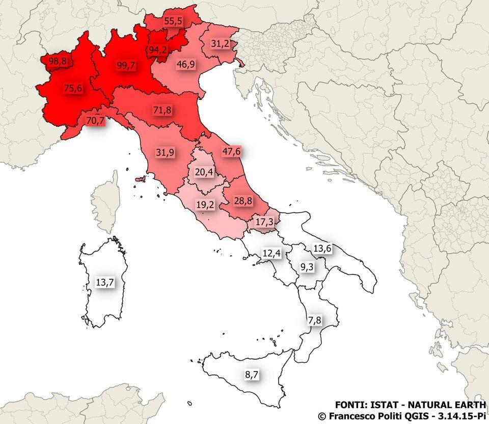 Cartina Lombardia E Province.Coronavirus Il Numero Di Casi Regione Per Regione La Lombardia E La Piu Colpita Calabria Virtuosa Mappa