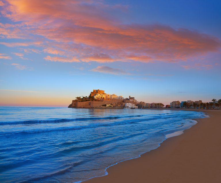 Peniscola skyline and castle beach sunset in Castellon of Spain