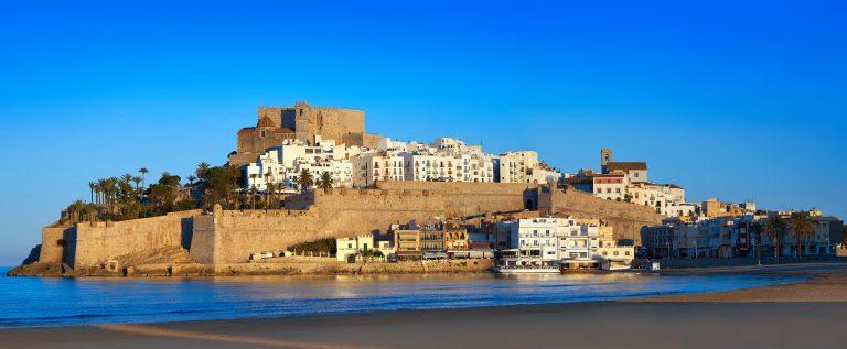 Peniscola skyline and castle beach in Castellon of Spain