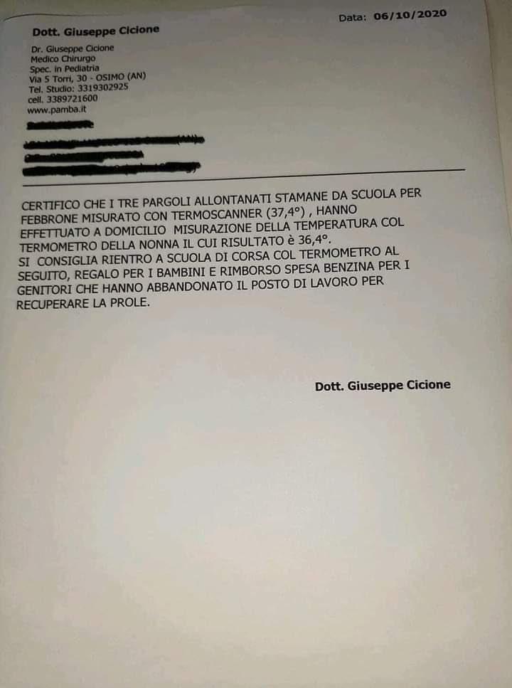 certificato pediatra bambini coronavirus