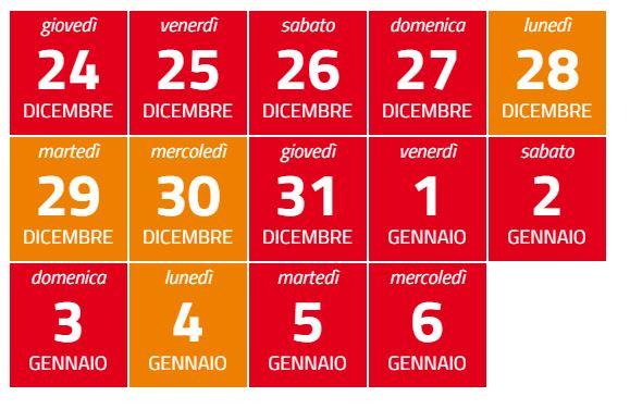 calendario zona rossa arancione