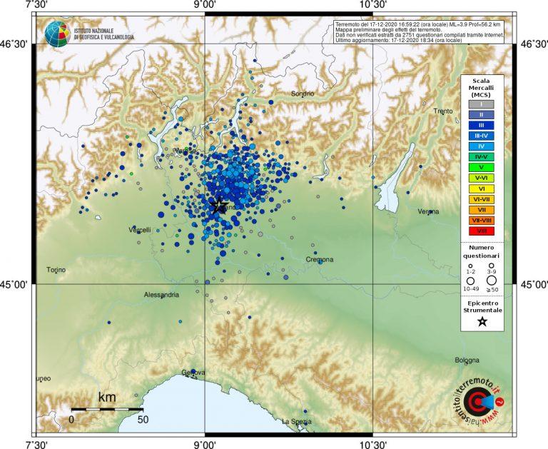 Mappa del risentimento sismico in tutta la Lombardia in seguito al terremoto M. 3.9 di oggi