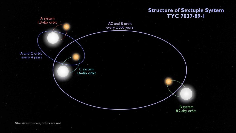 Sistema stellare sestuplo nella costellazione dell'Eridano