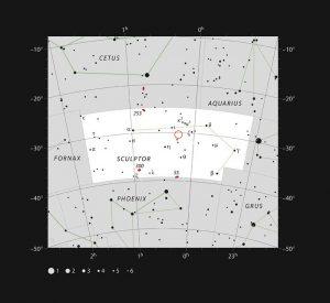 Ubicazione del sistema planetario TOI-178 nella costellazione dello Scultore