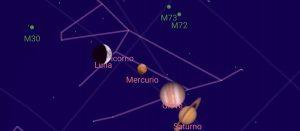 congiunzione luna mercurio giove saturno