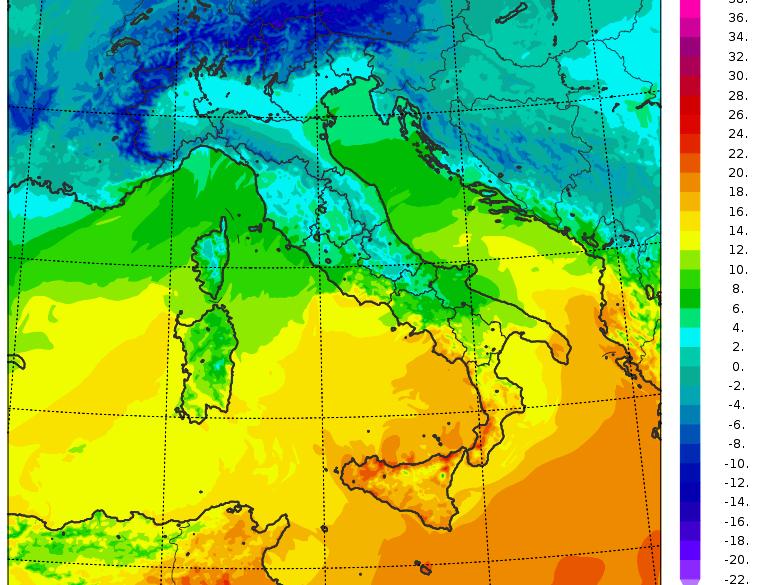 meteo italia temperature domenica 10 gennaio