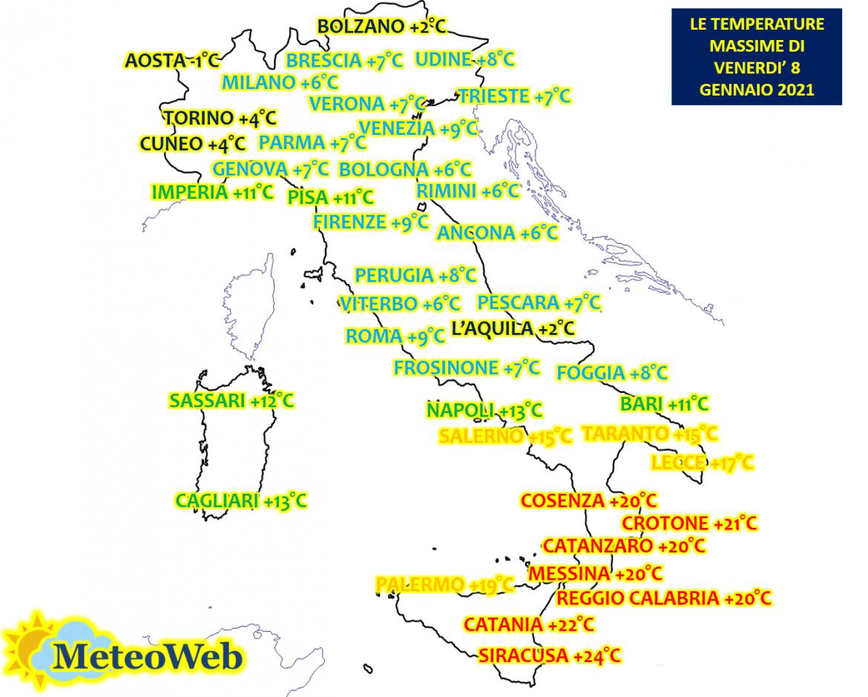 meteo italia temperature massime oggi