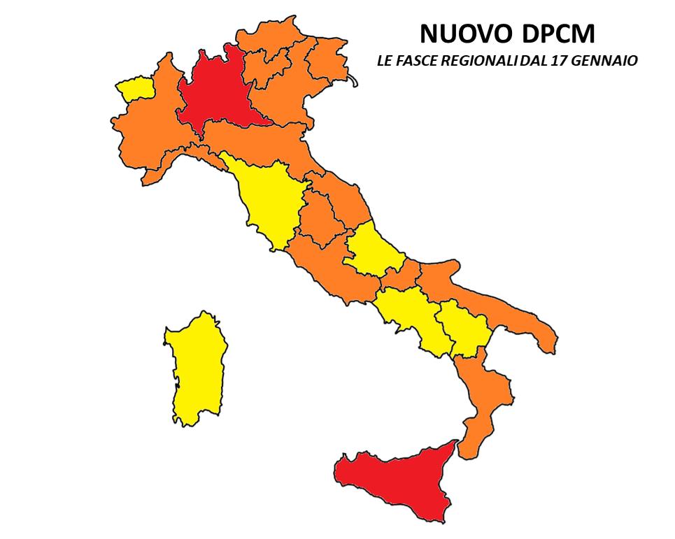 nuovo dpcm zone italia 17 gennaio