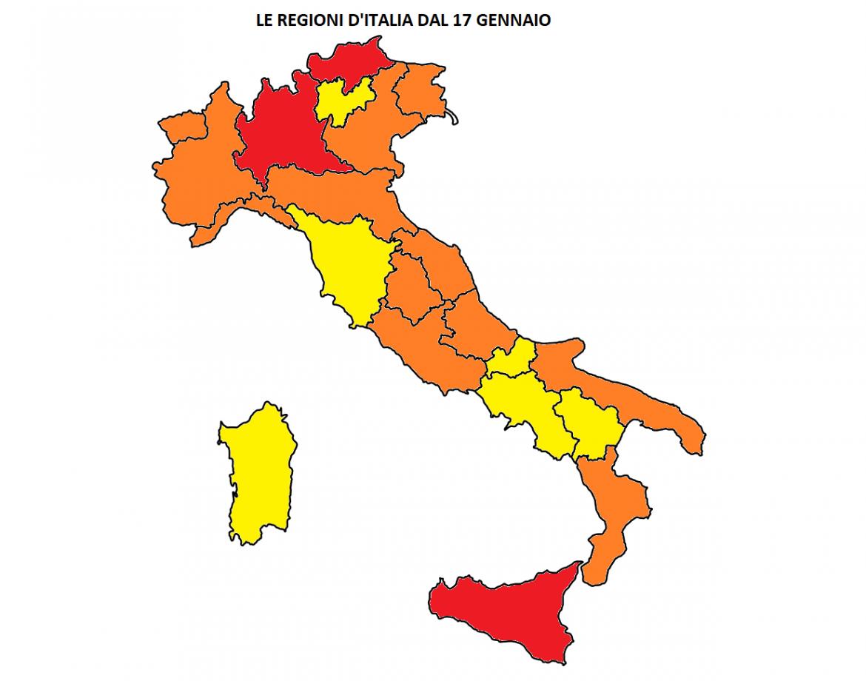 regioni italia colori 17 gennaio
