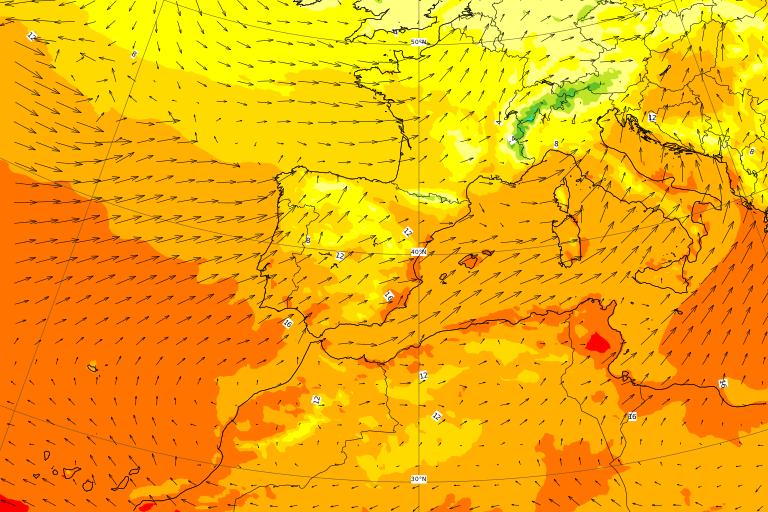 Le temperature al suolo nella giornata di Giovedì 21 Gennaio