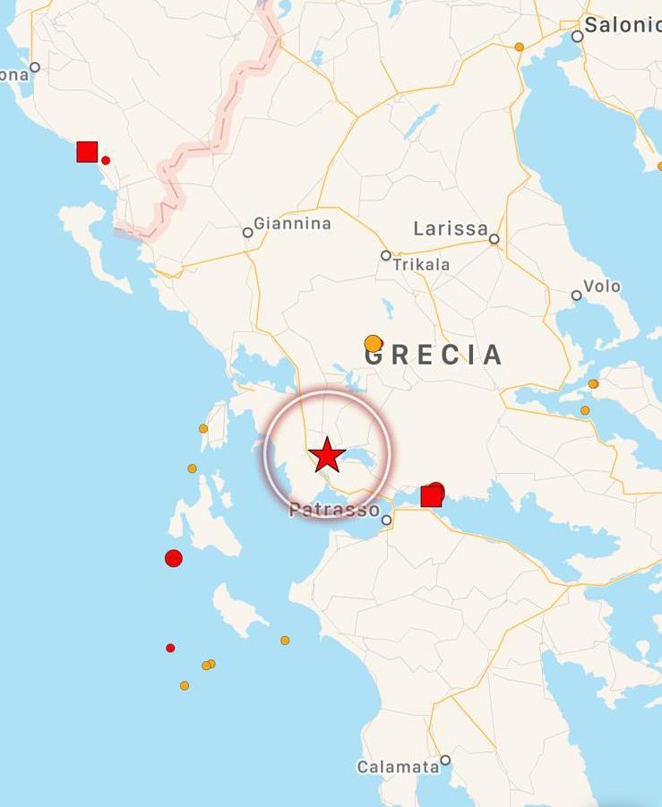 Le mappe preliminari sull'epicentro del terremoto di stasera in Grecia