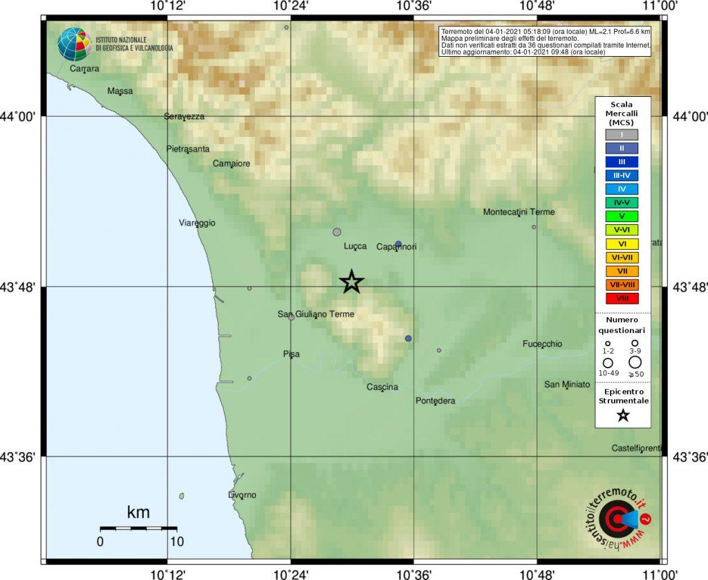 terremoto lucca oggi