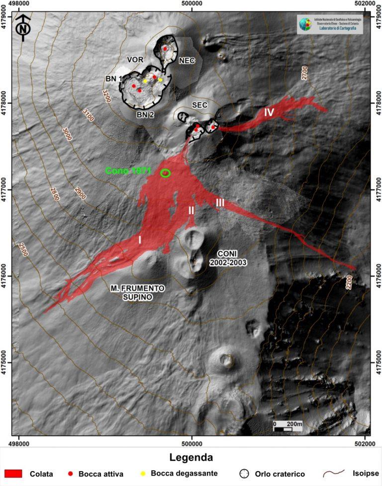 Figura 4 - Mappa del campo lavico etneo del dicembre 2020 su modello ombreggiato del terreno. La base topografica e' il DEM 2014 elaborato dal Laboratorio di Aerogeofisica-Sezione Roma 2, coordinate WGS 84 33N.