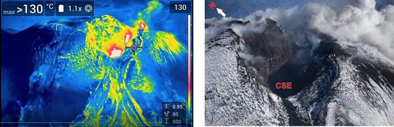 Figura 5 - Il cratere di Sud-Est dell'Etna. A sinistra un'immagine ottenuta con telecamera termica ripresa da sudovest verso nordest. A destra, immagine nel campo del visibile con la stessa angolazione. Fotografia di M. Cantarero, INGV.