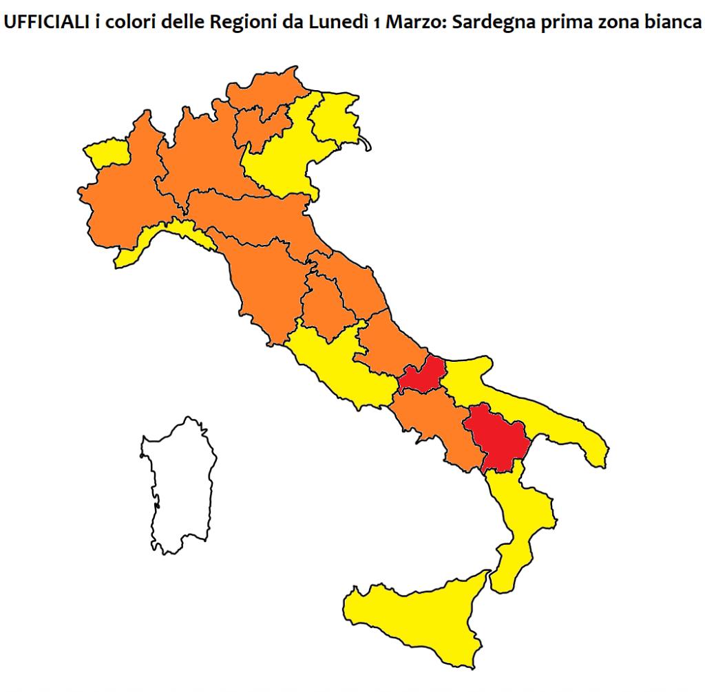 colori italia 1 marzo sardegna zona bianca