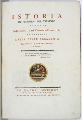 Istoria de' Fenomeni del Tremoto avvenuto nelle Calabrie, e nel Valdemone nell'anno 1783 posta in luce dalla Reale Accademia delle Scienze, e delle Belle Lettere di Napoli, Michele Sarconi, volume pubblicato nel 1784.