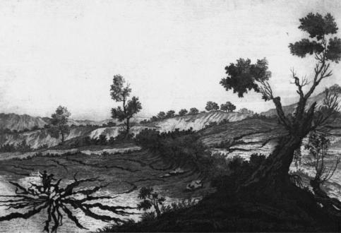 """Fenditure di terreno nel distretto di Gerocarne (Atlante iconografico allegato alla """"Istoria"""" di M. Sarconi, 1784)."""