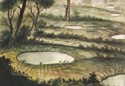 """Formazione di crateri di depositi sabbiosi nella Piana di Gioia Tauro (Atlante iconografico allegato alla """"Istoria"""" di M. Sarconi, 1784)."""