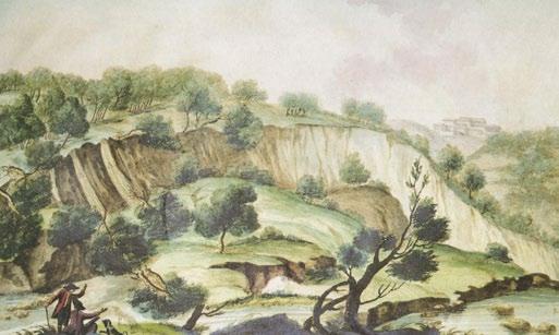 """Frane indotte dai terremoti del 1783 (Atlante iconografico allegato alla """"Istoria"""" di M. Sarconi, 1784)."""