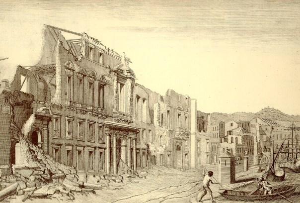 """Messina: le rovine del Palazzo Reale (Fonte: Atlante iconografico allegato alla """"Istoria"""" di M. Sarconi, 1784)."""
