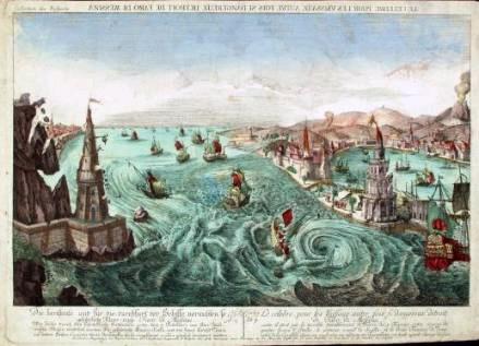 Antica incisione che illustra le onde di maremoto prodotte dal terremoto del 5 febbraio 1783 nello Stretto di Messina.