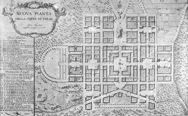 Nuova Pianta della città di Palmi (RC) proposta dai Borboni per la ricostruzione dopo il terremoto del 1783.