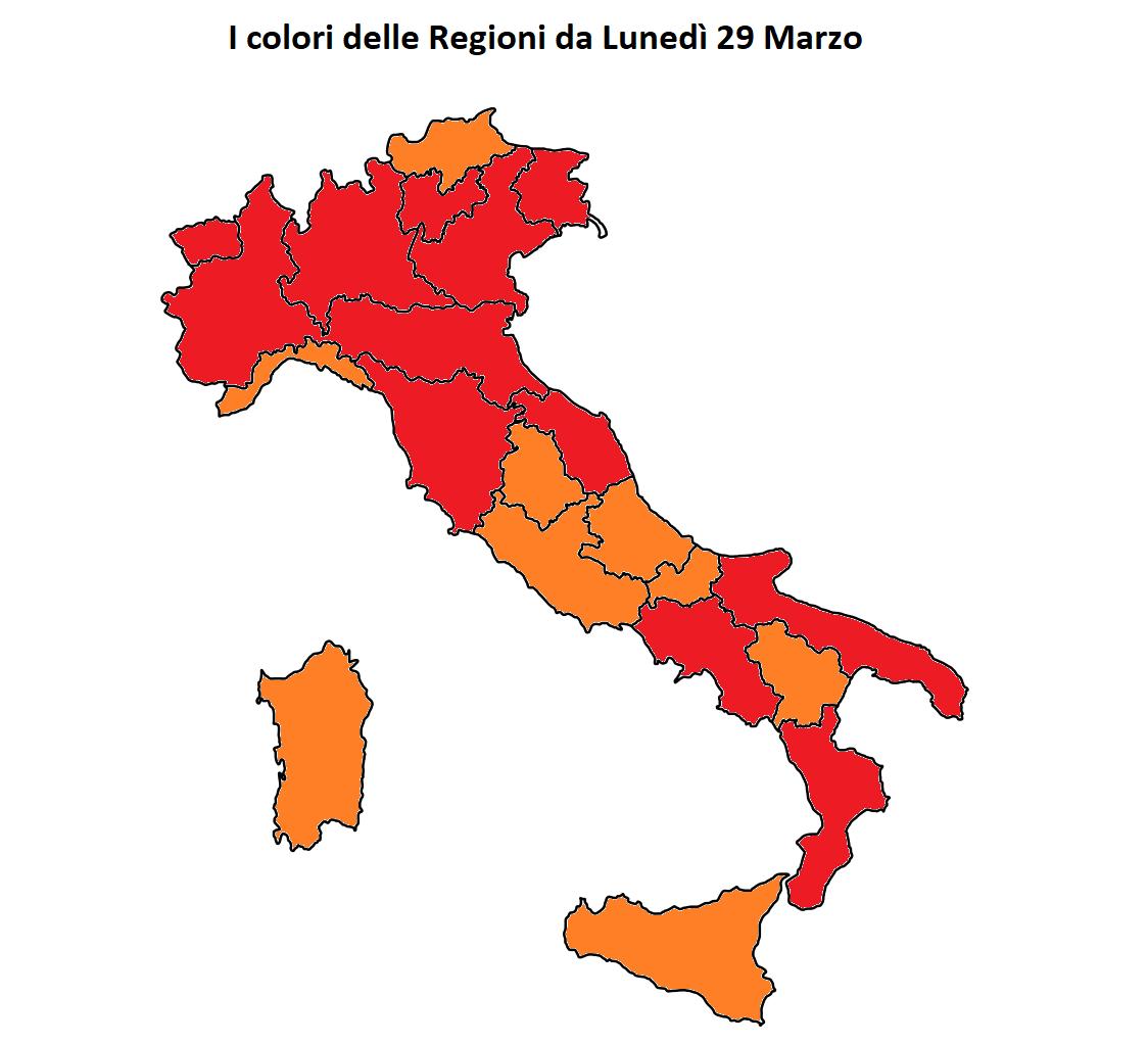 colori regioni italia 29 marzo