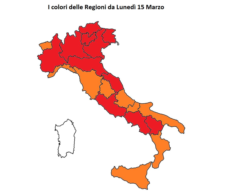 colori regioni italia coronavirus lunedì 15 marzo