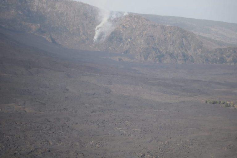 L'incendio sul Monte Rinatu
