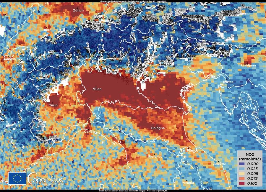 inquinamento nord italia copernicus sentinel 5p