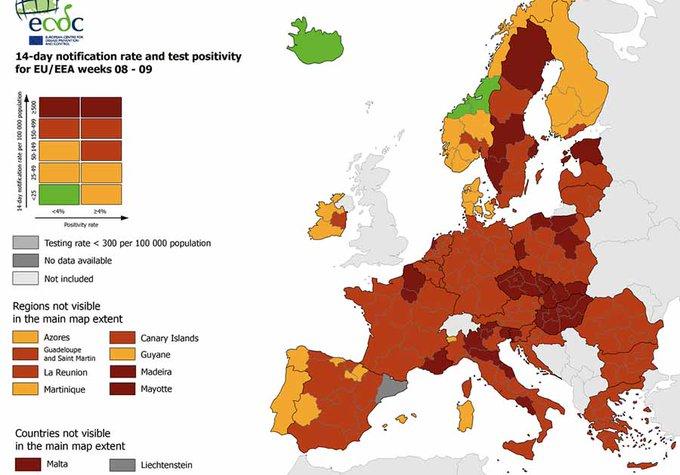 mappa coronavirus ecdc