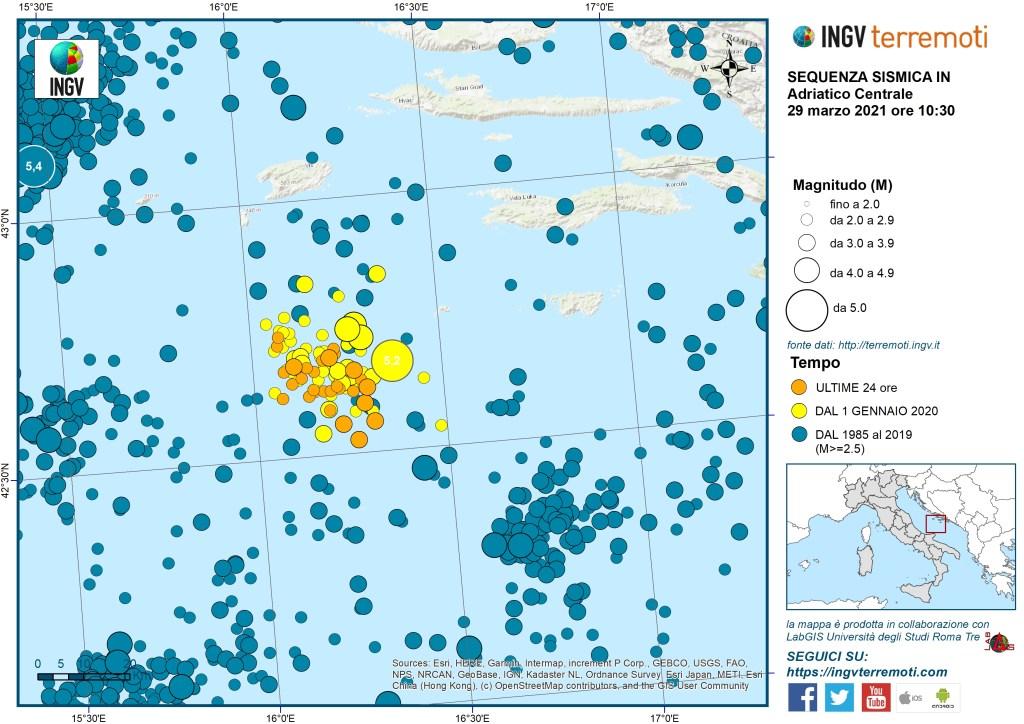 sciame sismico adriatico