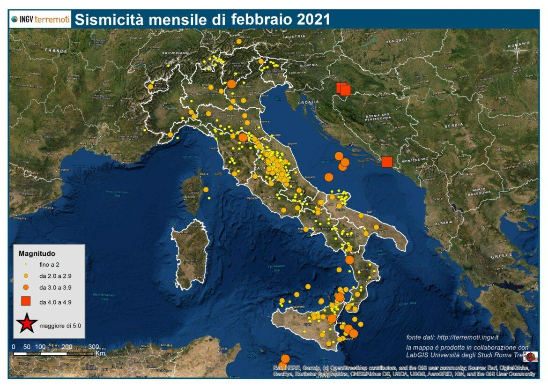 sismicità Febbraio 2021
