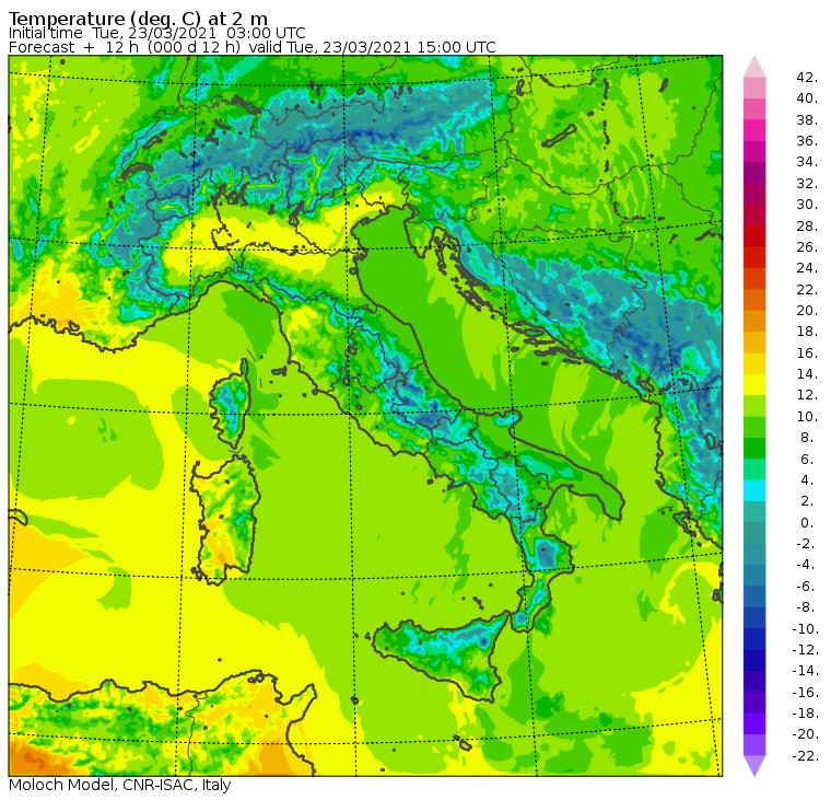 temperature massime oggi italia